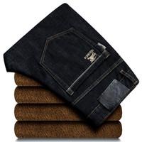 jeans ajustados de bandera americana para hombre al por mayor-Otoño Invierno Hombres Moda Corea Estilo Vintage Loose Straight Fleece Cachemira Cálido Denim Hombre Elegante Casual Jeans Pantalones Pantalones