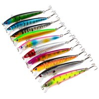 Wholesale floating big lure for sale - Group buy 10 Pieces Hard Fishing Lure Hard Lure Bait Tight Wobble Slow Floating g cm With Three Hooks Minow Lure Random colors