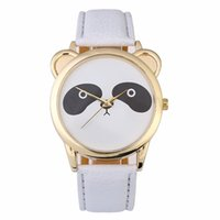 Wholesale fashion panda - Fashion men women students boys girls lovely panda design leather watches wholesale casual cartoon simple quartz wrist watches