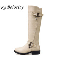 бежевые низкие каблуки оптовых-KEBEIORITY Knee High  Boots Low Heel PU leather Women Buckle Autumn Boots Shoes with Zipper Beige Black Punk Shoes 2017
