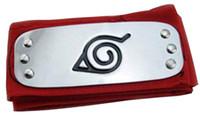 traje cosplay de anime preto venda por atacado-Anime Naruto Headband Folha Vila Logotipo Konoha Kakashi Akatsuki Membros Cosplay Traje Acessórios azul vermelho preto
