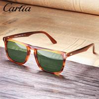uv-schutz sonnenbrille großhandel-Carfia Herren Sonnenbrille Polarisierte Gläser Vintage Sonnenbrille 100% UV-Schutz 5357 Square 50mm 4 Farben mit Etui