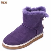 Wholesale natures shoes - INOE 2016 Fashion nature real sheepskin leather fur lined girls short ankle snow boots for women winter shoes flats navy blue
