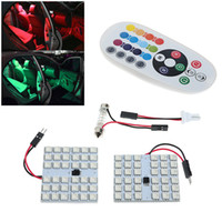 Wholesale led door plate light resale online - 2X T10 SMD Car RGB Festoon Dome Reading Light Atmosphere Lamp Remote Control For BMW Benz DHL UPS Free Shippping