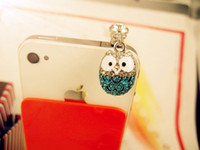 Wholesale cell phone dust plug cute resale online - Cute Big Eyed Diamond Owl Phone Dust Plug Cell Phone Accessories mm Earphone Dust Plug new high quality OEM wholsale