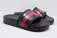 Wholesale women massage slippers - New fashion shoes luxury brand shoes with top quality genuine leather green red green slippers for man and women size 35-41