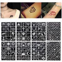 tatuaje con aerógrafo flores al por mayor-1 Hoja 48/12 Mapas Glitter Tattoo Stencil Geometría de Flores Plantillas de Dibujo Aerógrafo Mujeres Niños Pequeños Tatuajes de Henna # 242097