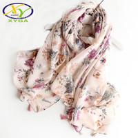 Wholesale cotton flower printed pashmina shawl resale online - 1PC Srping Women Cotton Long Tassels Scarf Flower Printed Thin Hijab Soft Summer Lady s Pashmina New Viscose Autumn Shawl D18102905