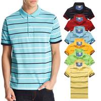 nouvelle arrivée polo achat en gros de-Nouvelle arrivée Stripe Polo Shirt Hommes crocodile À Manches Courtes D'été Camisas Casual Polo t shirt Mens Free Ship