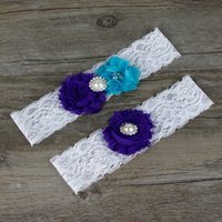 Wholesale Vintage Lace Bridal Garters - Lace Vintage Bridal Garter With Flowers Rhinestones Pearls Blue Bridal Accessories Appliques Sexy Lace Garter 1 Set