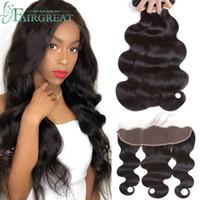 Wholesale 100 virgin brazilian hair online - Brazilian Body Wave Bundles with Frontal Unprocessed Virgin Hair Bundles With Lace Frontal Closure Natural Color Hair Extension