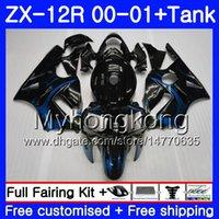 zx12r blau großhandel-Injection + Tank Blue Flames HOT Für KAWASAKI NINJA ZX1200 C ZX 12R 00 01 222HM.22 ZX 12 R 1200CC ZX12R 00 01 ZX-12R 2000 2001 Verkleidungssatz