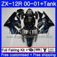 Wholesale zx12r blue online - Injection Tank Blue flames HOT For KAWASAKI NINJA ZX1200 C ZX R HM ZX R CC ZX12R ZX R Fairings kit