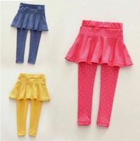 брюки для девочек оптовых-Мода модные ноги теплее девочка шерсть culotte горошек брюки детские брюки леггинсы высшего качества