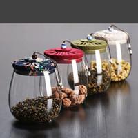 ingrosso tè sigillato tè-Vaso di vetro per alimenti 1000ML senza piombo Bottiglie di stoccaggio per cucina Lattine sigillate con coperchio Contenitore per tè in vetro Candy
