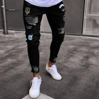 черные джинсы мужские классические оптовых-NEW 2018 men's hole embroidered jeans Slim men trousers Casual Thin Summer Denim Pants Classic Cowboys Young Man black blue