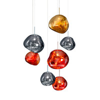 Wholesale tom dixon lighting copper for sale - Modern D30 CM Tom DIXON Melt Pendant Lights Acrylic Lava Irregular Silver Gold Copper Mirror Hang Lamp for Living Room Lighting
