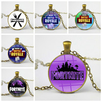 Wholesale souvenirs for kids - Fortnite Battle Royale Necklace Classic FPS Game Time Gem Alloy Pendant for Adults Kids Jewelry Keychain Gifts Keyring Souvenir 2018 sale
