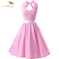 ingrosso vestiti rosa nero punti-vendita all'ingrosso Pink Red Black 50s Vintage Dress Polka Dots Casual Party Bandage Retro Rockabilly Swing Women Summer Dresses VD0087