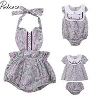 без рукавов оптовых-2018  New Newborn Infant Toddler Baby Girl Lace Floral Romper Sleveless Sunsuit Dress Top Boom Halter Summer Sets Outfits