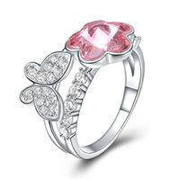 Wholesale Valentine Butterflies - S925 Fashion Sterling Silver Pink Crystal Butterfly Flowers Ring Ladies Girls Women Birthday Valentine Gifts Elegant Design Favorable Price