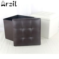 Wholesale brown modern sofa - Folding Ottoman Storage Blanket Box Organizer Footstool Stool Cube Pouf Sofa Home Furniture Faux Leather 3 Colors Large Capacity