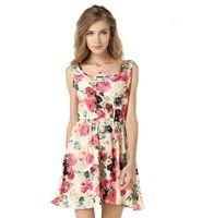 Wholesale Chiffon Tank Dress - 2018 Summer Dresses Women Beach Sexy Vest Tank Floral Print Chiffon Mini Dress Plus Sizes XL Elastic Waist Vestidos Robe Femme