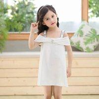 yeni gelenler kore kızı elbiseleri toptan satış-Yeni Varış Yay Yay Elbise Kız Elbise Kore Tarzı Etek Düz Renk Marka Tasarımcı Elbise Bebek Kız Jartiyer Elbise