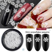 Wholesale snowflake nails online - White Snowflakes Christmas Nail Art Sticker Nail Art Sequins Glitters D Manicure Decors Snow Flake Decal Xmas Theme Accessories