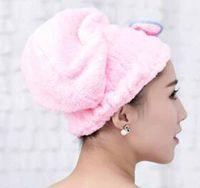 wasserabsorbierendes handtuch großhandel-Bunte Duschhaube wickelte Tücher Microfiber-Badezimmer bowknot Hüte ein super wasserabsorbierendes schnell trockenes Haar-Hut-Bad-Zusätze
