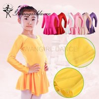 Wholesale dance dresses for sale online - Girls Ballet shiny spandex leotards with skirt long sleeve dance costume ballet clothes for sale child ballerina dress SD4016