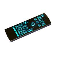laser android venda por atacado-2018 2.4 GHz MX3 Fly Air Mouse Teclados a Laser Qwerty Controle Remoto Sem Fio para Android TV Box 7 cores RGB backlight teclado 50 pcs