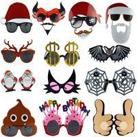 maskerade gläser großhandel-Halloween Christmas Party Gläser Lustige Geist Kostüm Gläser Für Kürbis Weihnachtsmann Rentier Dollar Katze Maske Masquerade WX9-827