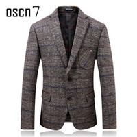Wholesale Tooth Suit - Oscn7 Grey Hound Tooth Mens Wool Blazer 2017 Winter Thicker Check Slim Fit Blazers Mens Formal Casual Wedding Suit Jacket Men
