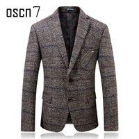 ingrosso vestito casuale grigio mens-Oscn7 Grigio Hound Tooth Mens Blazer di lana 2017 Inverno più spessa Check Slim Fit Blazer Mens formale Casual Suit Suit da uomo