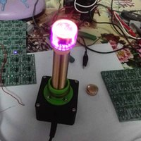 juguetes 12v al por mayor-Freeshipping Juguetes electrónicos dc 12V bobina tesla Experimento de enseñanza Transferencia de energía inalámbrica Transmisión con indicador de tubo Glow Luz