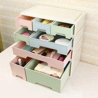 Wholesale Red Drawers - Combinable DIY Drawer Desk Organizer Desktop Storage Box Cosmetic Storage Organizer Makeup Stationery Jewelry Case 1PC