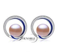 ingrosso grandi orecchini di perle reali-All'ingrosso -2018 YouNoble vera moda 925 argento grande orecchini smalto da sposa, carino naturale perla d'acqua dolce 9-10mm orecchini per le donne bianco pi