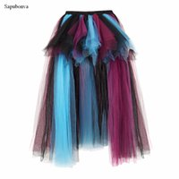Wholesale midi skirt lace - Sapubonva Long Maxi Elastic Skirts Corset Fluffy Tulle Skirt Ruffled Chiffon Lace Midi Gothic Red Victorian Burlesque Costumes