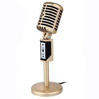 microfone para karaoke laptop venda por atacado-Mesuvida Retro Gravação Microfone Estéreo Microfone Com Fio Para Computador Portátil Voz Chat Microfone de Mesa Para Cantar Karaoke Conversando