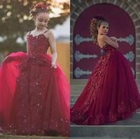 çocuklar için elbise kristalleri toptan satış-2018 Bordo Kristalleri Boncuklu Kızlar Pageant elbise Spagetti Sapanlar Tül Uzun Örgün Çocuk İlk Communion Abiye Dantel Aplike