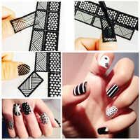 uñas exclusivas al por mayor-Nuevas pegatinas huecas exclusivas Nail Art Inkjet Template Hollow DIY Creative Decal Long 12 pegatinas 24 estilos