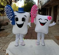Wholesale fancy dress teeth - 2018 High quality teeth and toothbrush Mascot Costumes adult size Fancy dress Christmas Party Dress Free Shipping