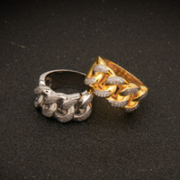 top-gold-kette design großhandel-Hip Hop Bling Gefüllte Kubanische Gliederkette Design Top Qualität Herren Micro Pave Zirkonia Eternity Band Ring