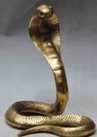 schwarzes kobra tier großhandel-Weihnachten Chinese Fengshui Messing Wildtier KING COBRA König Schlange Statue Skulptur Halloween