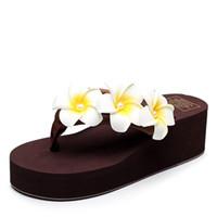 Wholesale Low Platform Wedges - Womens Flowers Bohemian Platform Slide Slip Flop Sandals Thick Bottom Flat Summer Black Beach Boho Anti-slip on Sandals for Girls