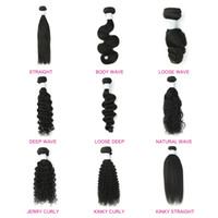 brasilianische tiefe welle 26 zoll großhandel-LIN MAN Hair 3 Bundles 8-30 Zoll brasilianisches Menschenhaar Bundles lose Welle verworrene gerade tiefe lockige Körperwelle gerade natürliche Farbe