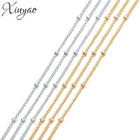 Wholesale kc gold color resale online - XINYAO New m High Quality Elegant Chains Rhodium KC Gold Color Copper Chains With mm Beads for DIY Jewelry Necklace