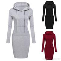 uzun hoodie elbiseleri toptan satış-3 Renk S-2XL Kadınlar Diz Boyu Rahat Kapüşonlu Kalem Hoodie Uzun Kollu Kazak Cep Bodycon Tunik Elbise Üst