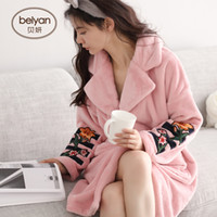 Ms BeiYan winter coral fleece pajamas han edition cardigan woman long robe  with thick warm flannel bathrobe 0dcc7e580